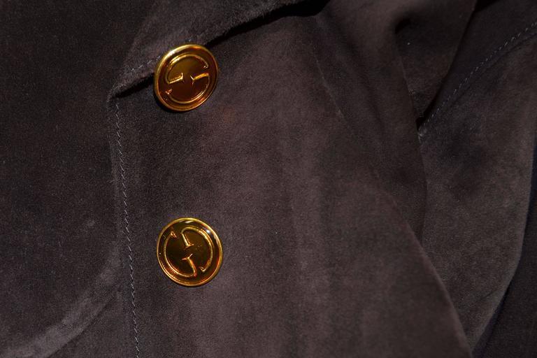 Gucci Vintage Jackie O 1970s Suede Leather Pant Suit w/ Belt Jet Set Ensemble  4
