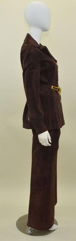 Gucci Vintage Jackie O 1970s Suede Leather Pant Suit w/ Belt Jet Set Ensemble  3