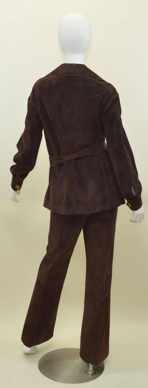 Gucci Vintage Jackie O 1970s Suede Leather Pant Suit w/ Belt Jet Set Ensemble  2