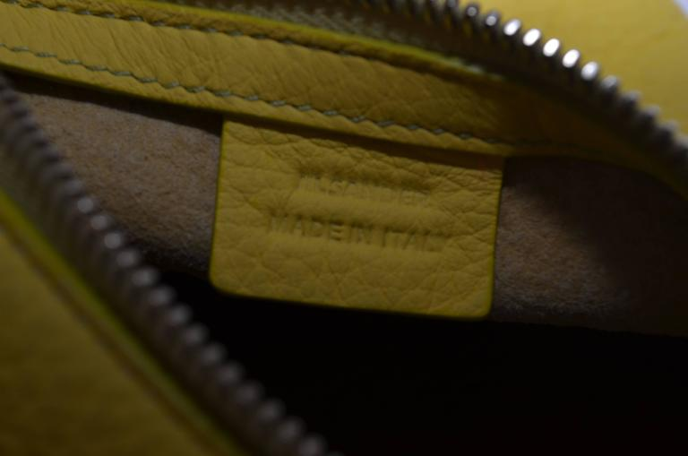 Women's Jil Sander Yellow Pyramid Wristlet Handbag For Sale