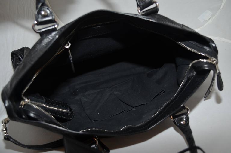Balenciaga Black & Silver Motocross Giant 12 Leather City Bag 3