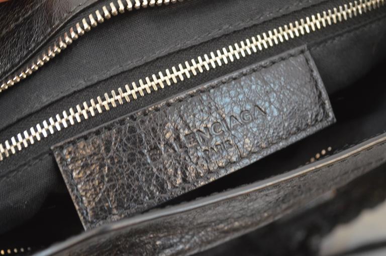 Balenciaga Black & Silver Motocross Giant 12 Leather City Bag 4