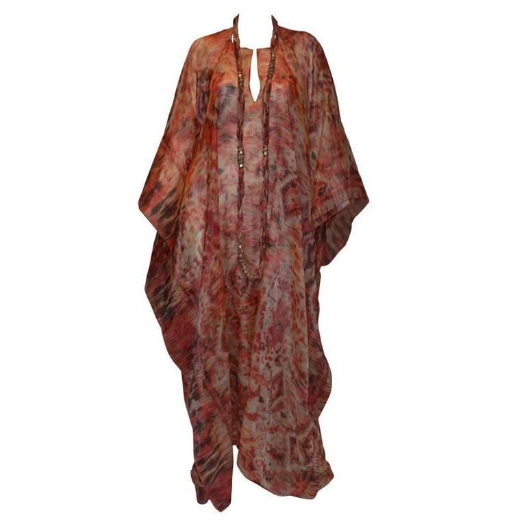 Oscar de la Renta 2009 Red Tan Print Silk Maxi Caftan Dress with Necklace 1