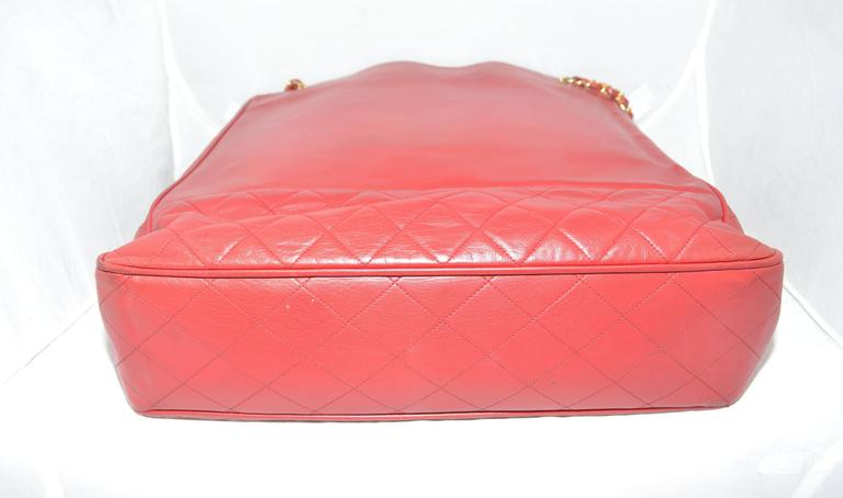 Women's Chanel Red Leather VL Vintage Tote  For Sale