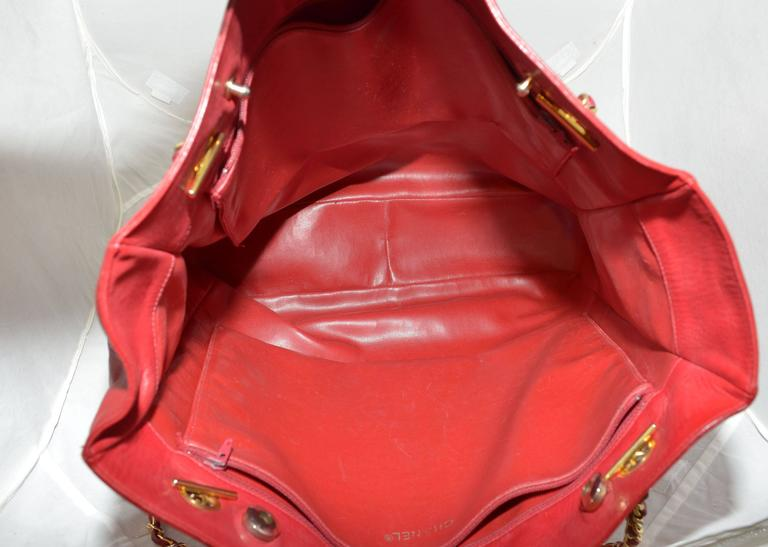 Chanel Red Leather VL Vintage Tote  For Sale 1