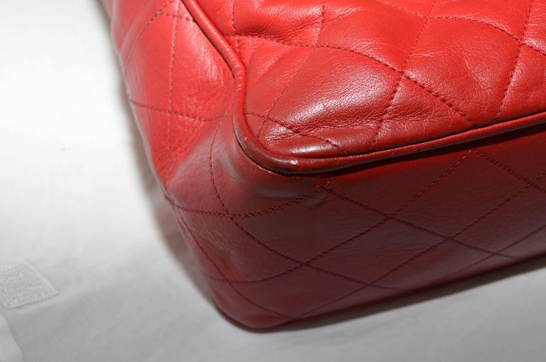 Chanel Red Leather VL Vintage Tote  For Sale 3