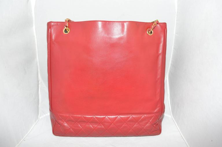 Chanel Red Leather 1986-1988 Vintage Tote Shopper Bag