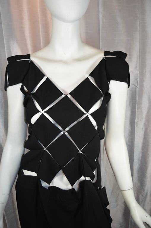Rare Yohji Yamamoto Dress  Bodice is comprised of diamond panels stitched together at corners. Skirt is unstructured and suspended from corners of diamond panels. Jewelry clasp closures in the back. Excellent condition.  Size 1. 100%