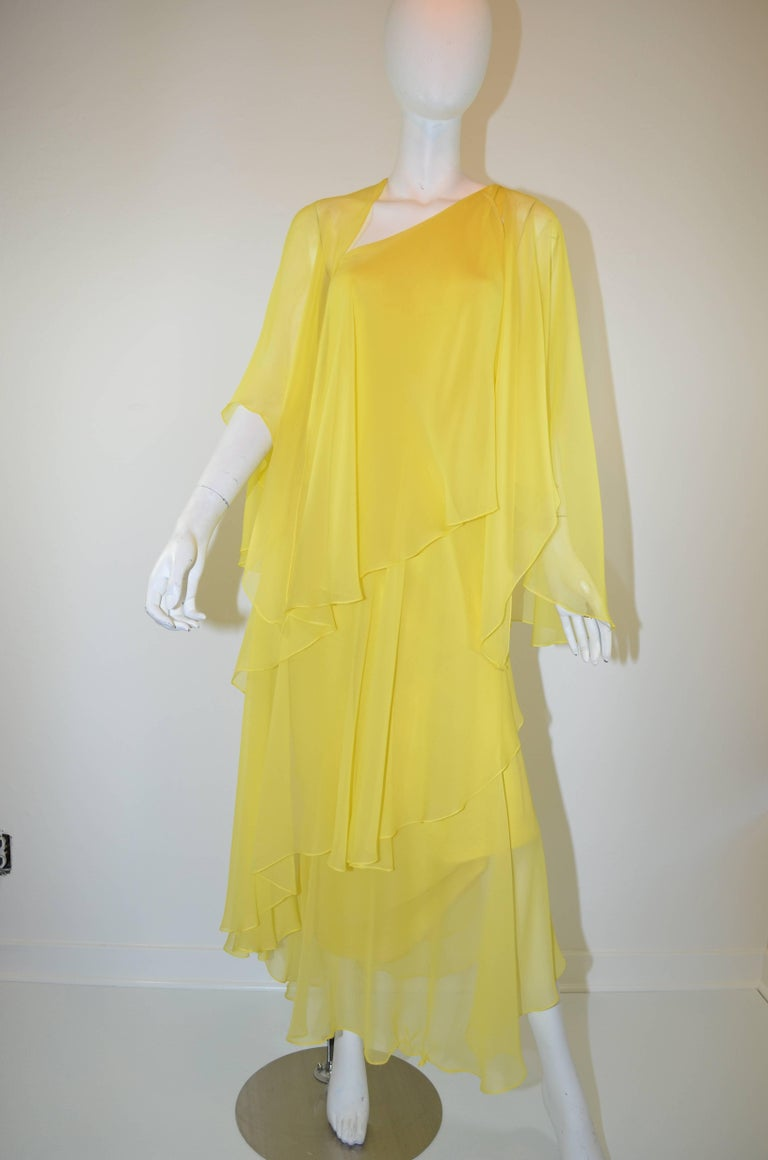 Halston 1970s Silk Chiffon One-Shoulder Gown With Shawl 2