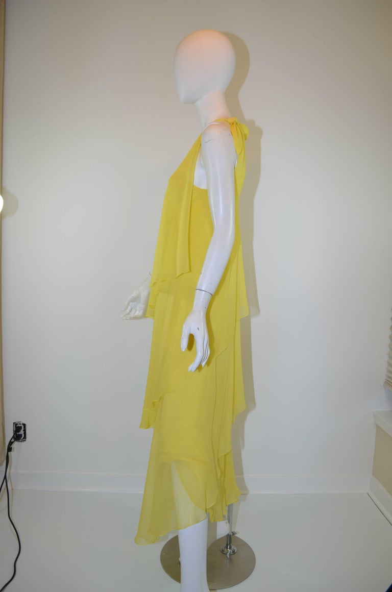 Halston 1970s Silk Chiffon One-Shoulder Gown With Shawl 3