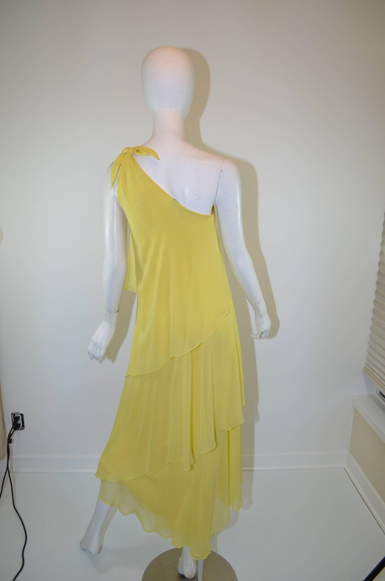 Halston 1970s Silk Chiffon One-Shoulder Gown With Shawl 4