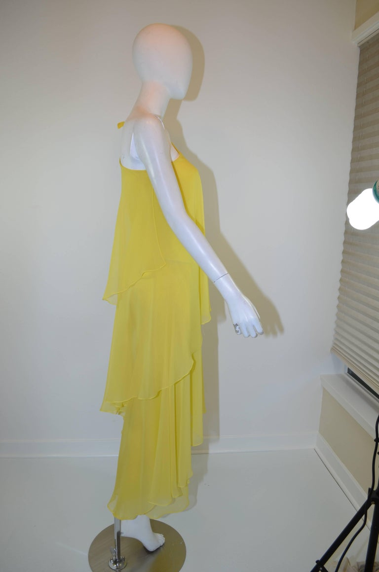 Halston 1970s Silk Chiffon One-Shoulder Gown With Shawl 5