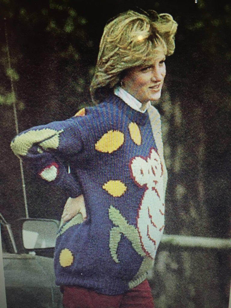 Made famous by Princess Diana who wore this sweater at a polo match to cover her growing bump when she was pregnant with Prince William. This well cared for vintage sweater from 1981 is perfect for collectors of the past and fashion lovers of the