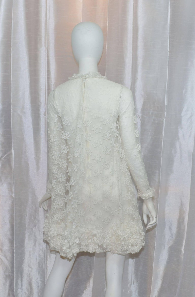 Emma Domb 1960 S Long Sleeve Lace Babydoll Dress For Sale