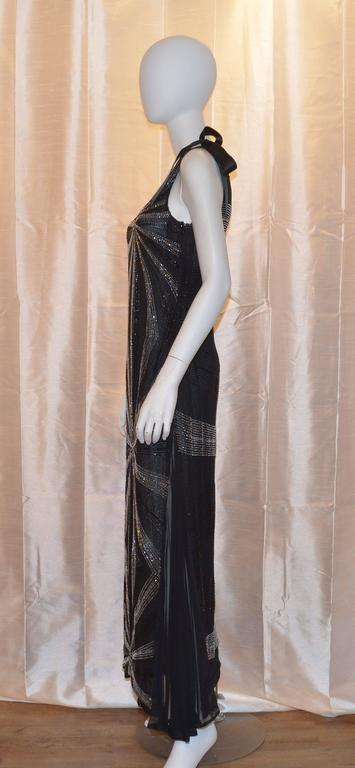 Alfred Fiandaca Black Silver Fully Beaded One Shoulder Gown In Good Condition For Sale In Carmel by the Sea, CA