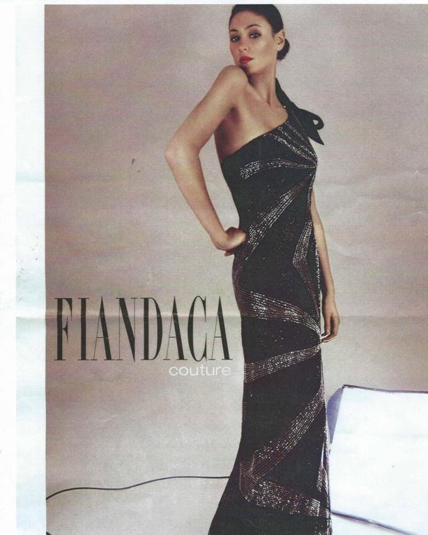 Alfred Fiandaca Black Silver Fully Beaded One Shoulder Gown For Sale 1