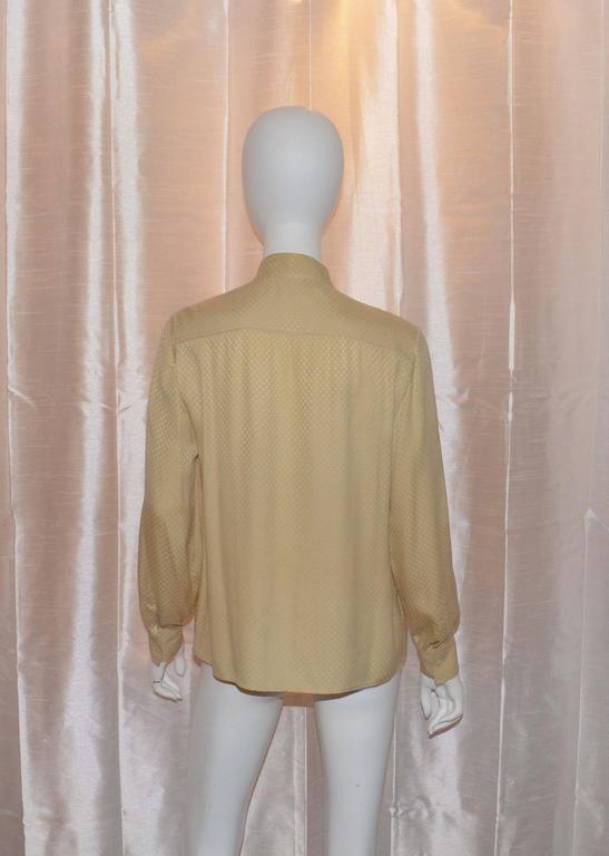 Beige Chanel Creations 1970s Cream CC Logo Print Silk Tie Neck Blouse For Sale