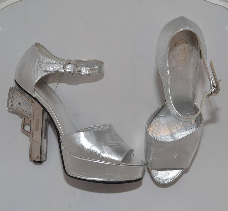 Chanel Resort 2009 Metallic Silver Miami Vice Gun Platform Heels 4