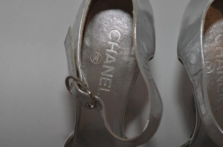 Chanel Resort 2009 Metallic Silver Miami Vice Gun Platform Heels 7