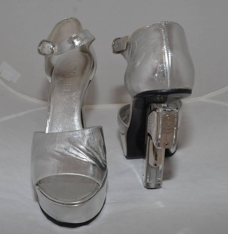Chanel Resort 2009 Metallic Silver Miami Vice Gun Platform Heels 3