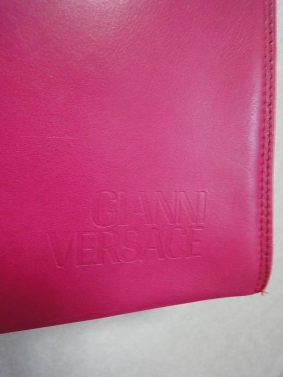 Vintage Gianni Versace pink calf leather and genuine snakeskin handbag 3