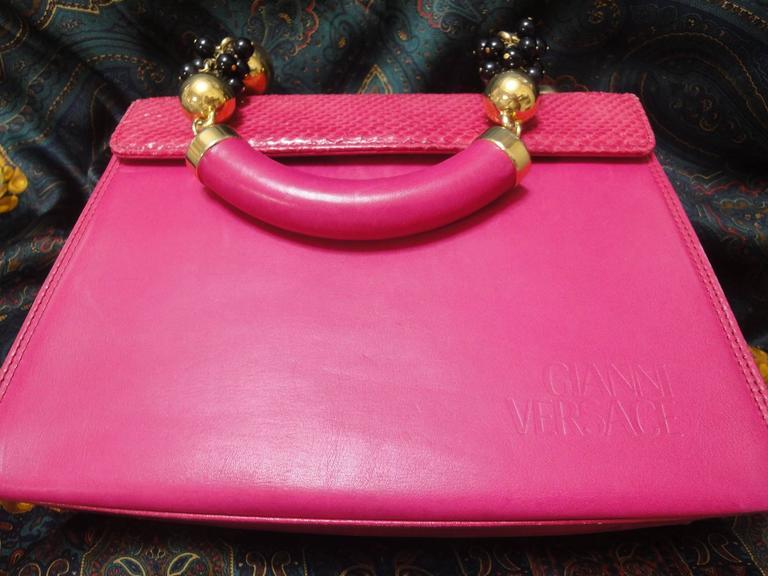 Vintage Gianni Versace pink calf leather and genuine snakeskin handbag 5