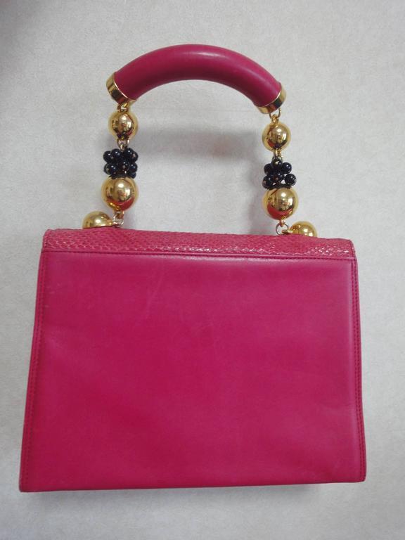 Vintage Gianni Versace pink calf leather and genuine snakeskin handbag 2