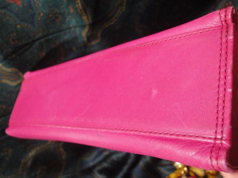 Vintage Gianni Versace pink calf leather and genuine snakeskin handbag 7