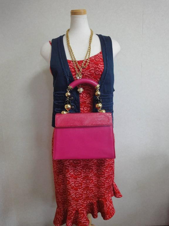 Vintage Gianni Versace pink calf leather and genuine snakeskin handbag 10