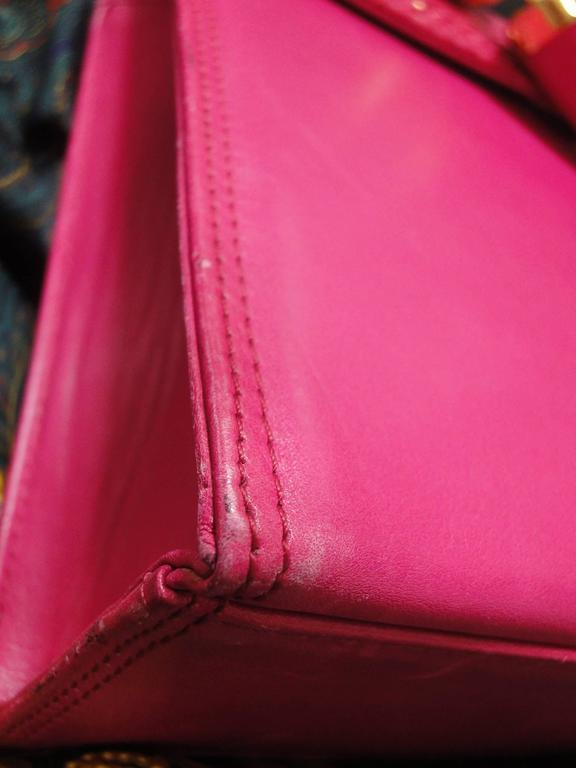 Vintage Gianni Versace pink calf leather and genuine snakeskin handbag 8