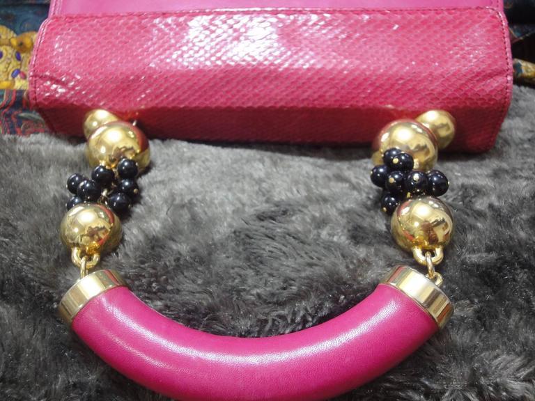 Vintage Gianni Versace pink calf leather and genuine snakeskin handbag 9