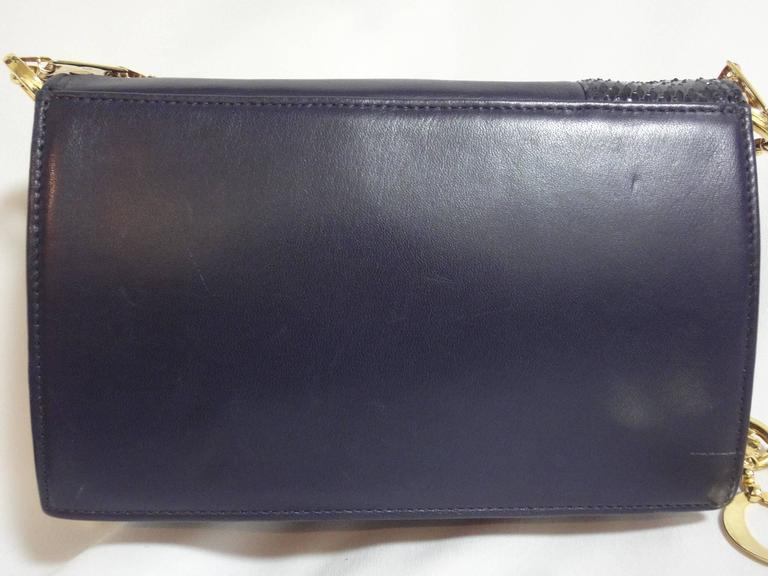 MINT. Vintage Gianni Versace navy leather clutch shoulder purse with snake skin  3