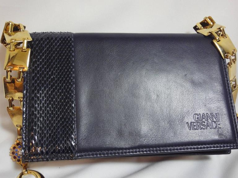 MINT. Vintage Gianni Versace navy leather clutch shoulder purse with snake skin  2