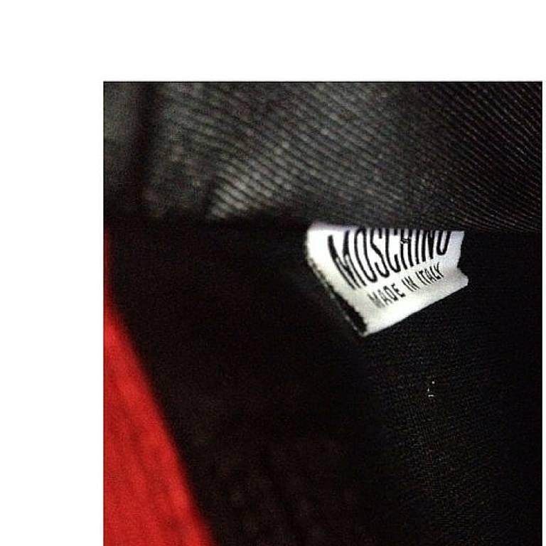 MINT Condition. Vintage MOSCHINO red and black canvas polkadot kelly handbag 6