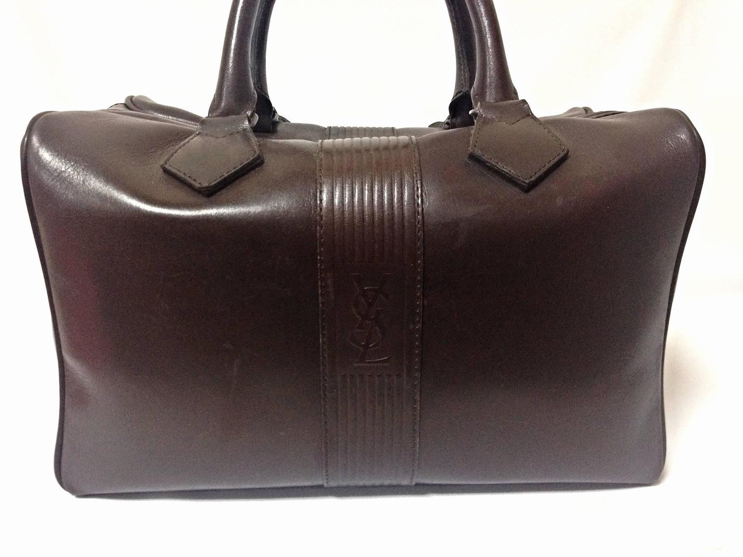 69a9ea6038bf ... yves st laurent bags - Vintage Yves Saint Laurent genuine dark brown  leather daily use .