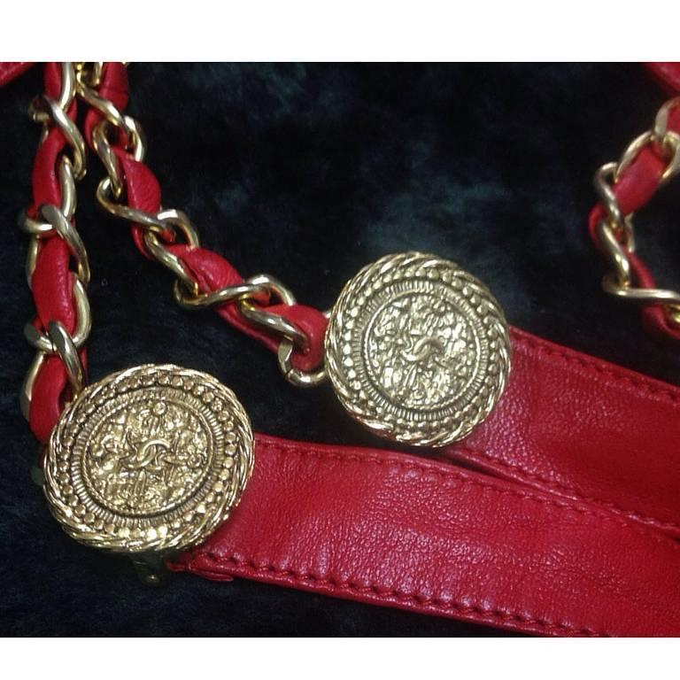 Vintage CHANEL lipstick red chain leather belt with golden CC charms.  2