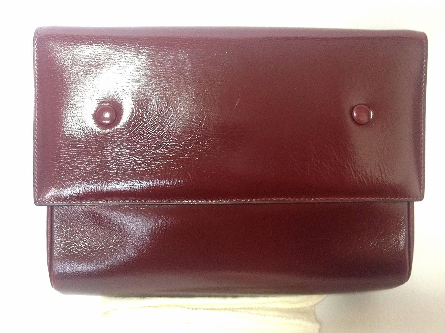 buy replica bag - intage CELINE genuine wine brown leather clutch bag with golden ...