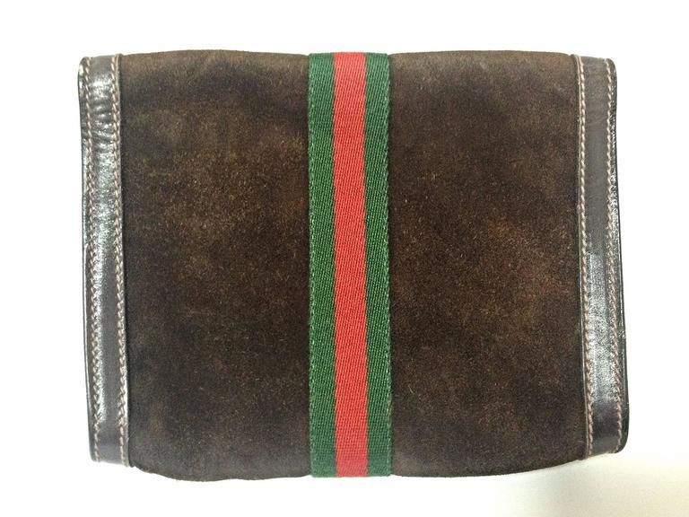 80 u0026 39 s vintage gucci brown suede leather classic makeup  cosmetic  toiletry pouch at 1stdibs