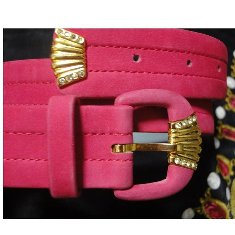 80's Vintage Christian Dior tropical pink suede leather belt with gold motif 7