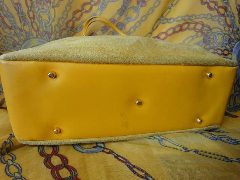 Versace Vintage Rare Gianni Versace Yellow Suede And Leather Bag With Cut Out Design rvftbGSNXC