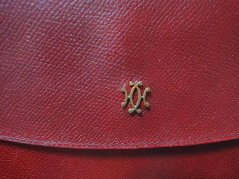 80s vintage HERMES brick red leather clutch pouch. can be wallet purse as well. 4