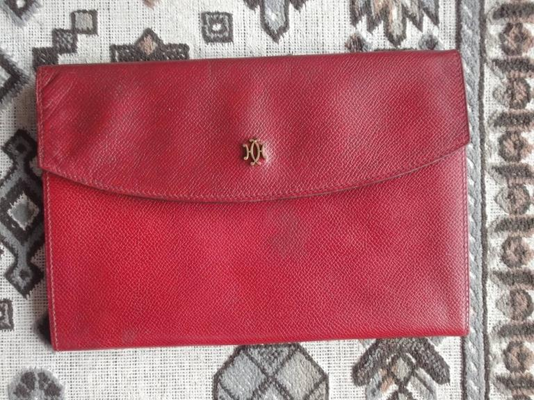 80s vintage HERMES brick red leather clutch pouch. can be wallet purse as well. 10