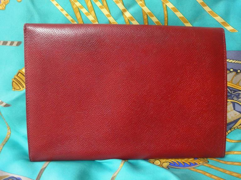 80s vintage HERMES brick red leather clutch pouch. can be wallet purse as well. 2
