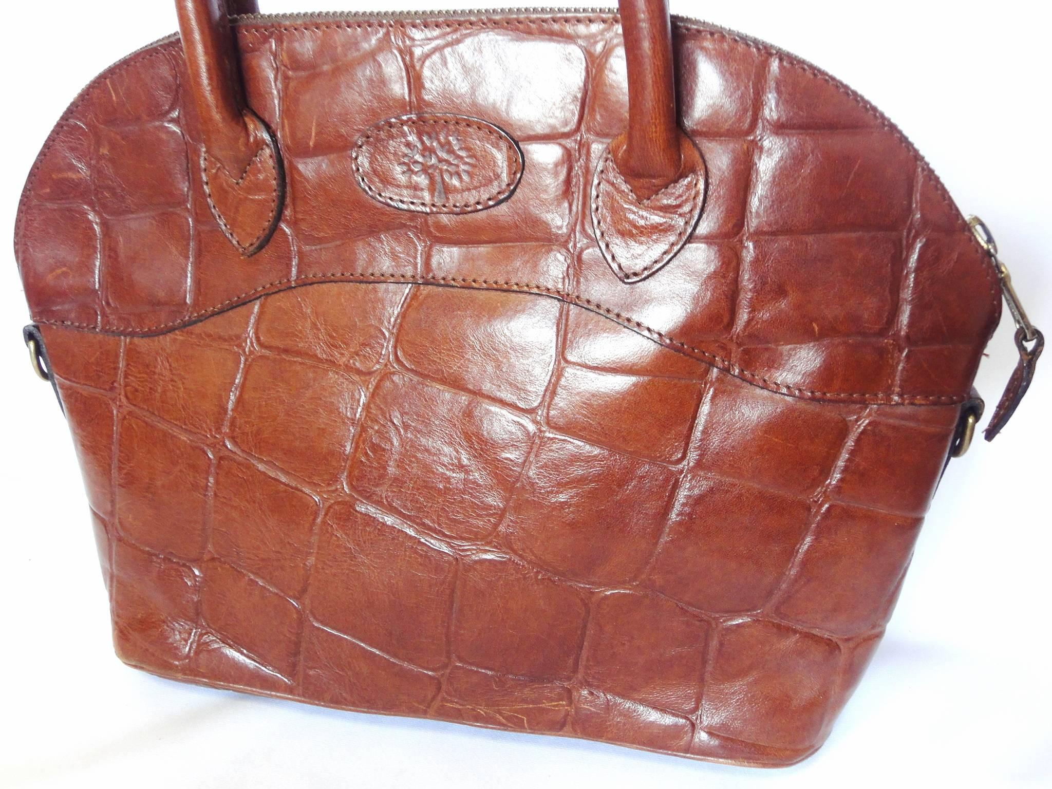 f1b8a26f2013 ... closeout vintage mulberry croc embossed brown leather tote bag in bolide  bag style. at 1stdibs