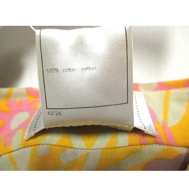 Vintage CHANEL yellow, pink, orange, etc floral print cotton blouse, shirt. 34 For Sale 2