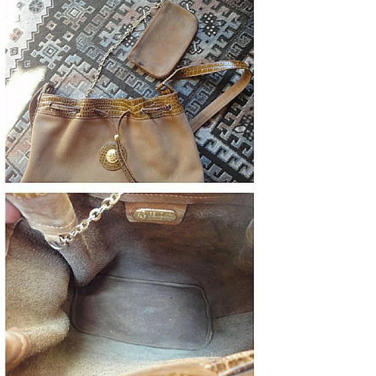 Vintage FENDI tan brown suede leather bucket shoulder hobo bag with Janus motif. 10
