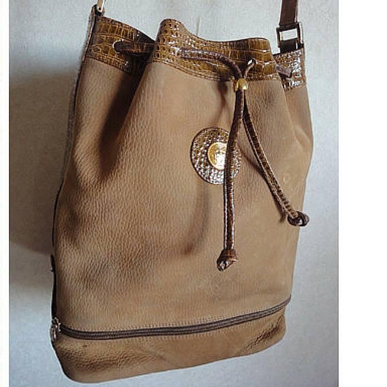 Vintage Fendi Tan Brown Suede Leather Bucket Shoulder Hobo