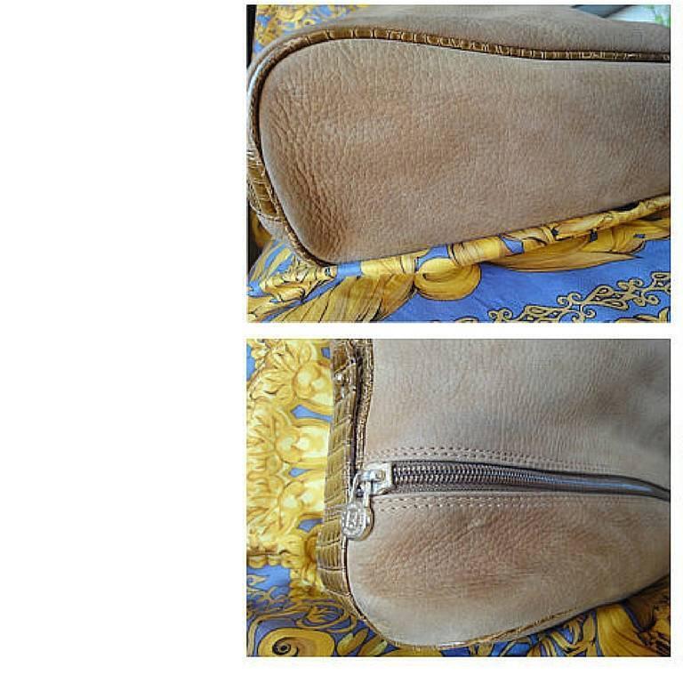 Vintage FENDI tan brown suede leather bucket shoulder hobo bag with Janus motif. 8