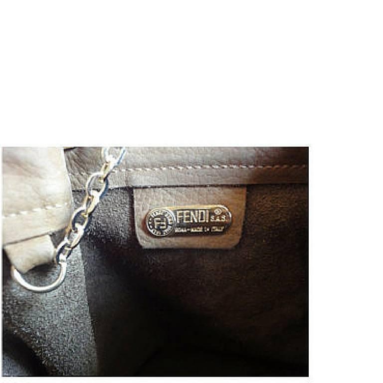 Vintage FENDI tan brown suede leather bucket shoulder hobo bag with Janus motif. 9