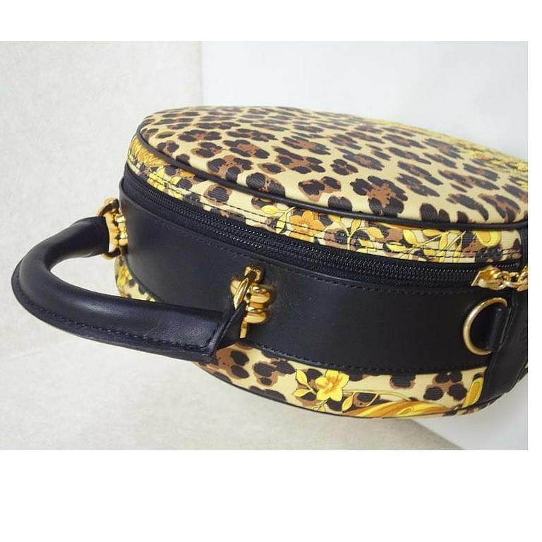 MINT. Vintage Gianni Versace leopard and gorgeous print round bag with strap. 3